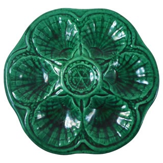 Green Majolica Oyster Plate For Sale