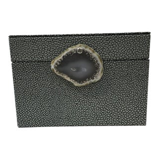 Faux Shagreen Lidded Box For Sale