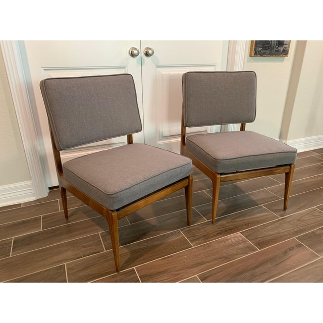 Pair of Mid-Century Gray Linen Chairs For Sale - Image 11 of 11