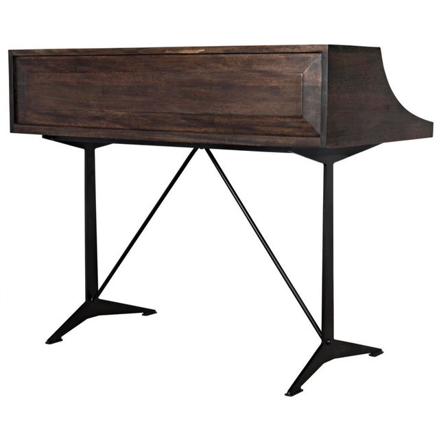 Croft Desk with Metal, Ebony Walnut For Sale - Image 11 of 12