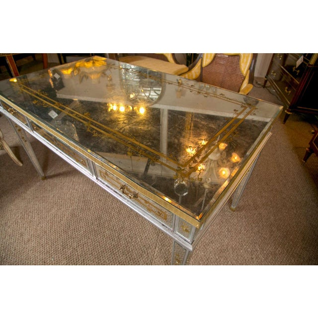 French Louis XVI Style Verre Eglomise Desk - Image 4 of 9
