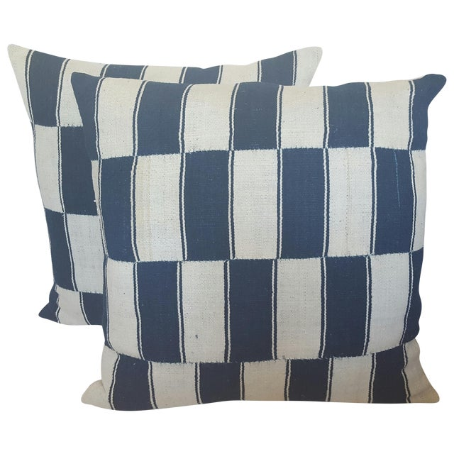 Checkerboard African Blue And White Pillows - Pair - Image 1 of 4