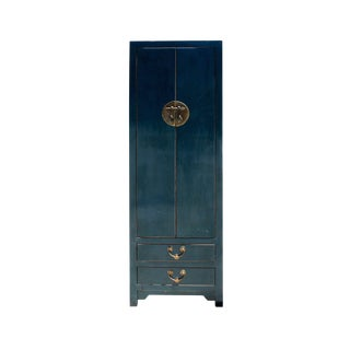 Chinese Vintage Hardware Dark Teal Blue Tall Storage Cabinet