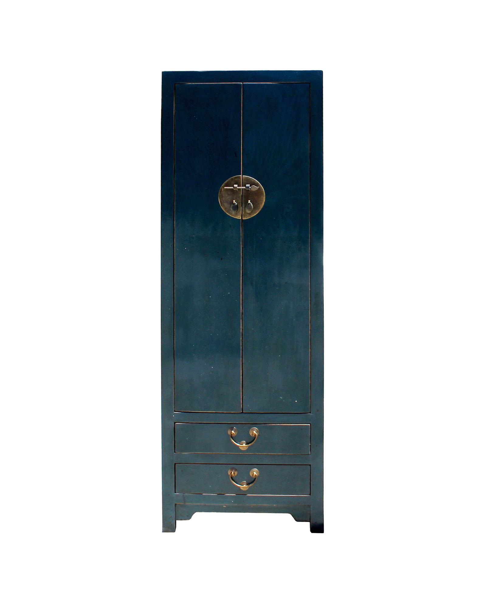 Chinese Vintage Hardware Dark Teal Blue Tall Storage Cabinet