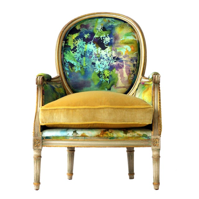 """Welcome to the Jungle"" is an antique french bergere that has been reupholstered using the finest earth friendly materials..."