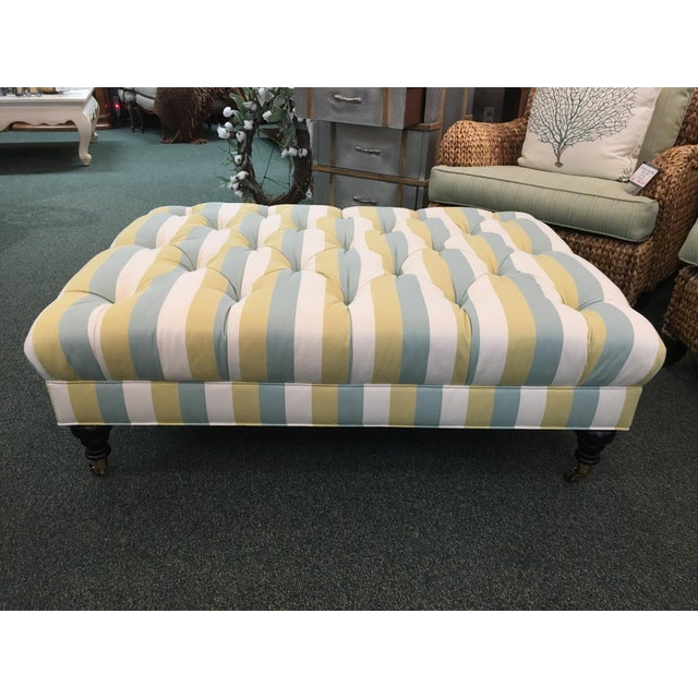 Contemporary Striped Tufted Ottoman For Sale - Image 3 of 7