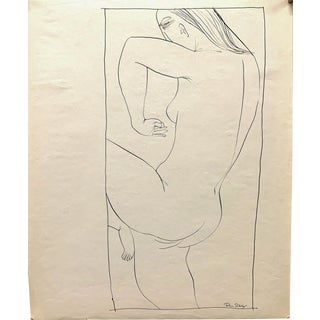 """Donald Stacy """"Star Ear"""" C.1950s Ink Nude Mid Century Drawing For Sale"""