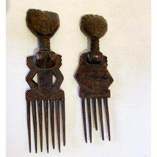 African Old Senufo I.Coast Combs W/ Female Sculpture S/2 Preview