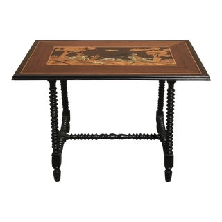 20th Century Continental Inlaid Table With Hunting Scene