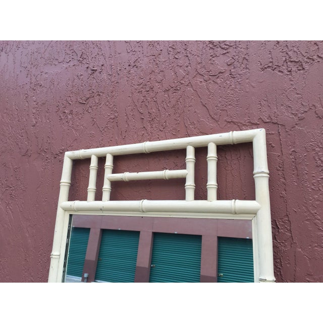 1970s Cream Color Wood Faux Bamboo Mirror For Sale - Image 5 of 6