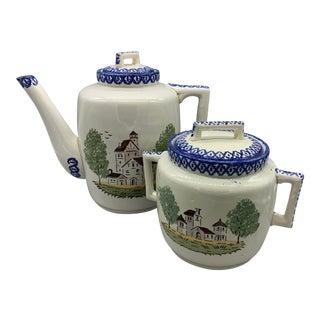 St. Clemente Lunéville Faience Tea Pot and Pot-Au-Creme - A Pair For Sale