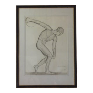 Vintage Mid-Century Discus Thrower Drawing For Sale