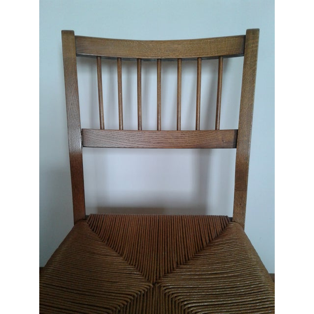 Rush Mid-Century Modern Rush and Hardwood Side Chair For Sale - Image 7 of 12