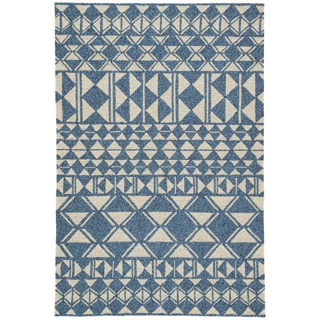 Jaipur Living Botella Indoor/ Outdoor Geometric Blue/ Cream Area Rug - 7′6″ × 9′6″ For Sale In Atlanta - Image 6 of 6