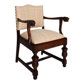 19th Century Upholstered Oak Chair For Sale