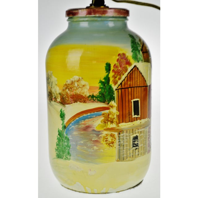 Mid 20th Century Vintage Folk Art Hand Painted Glass Jar Lamp - Artist Signed For Sale - Image 5 of 13