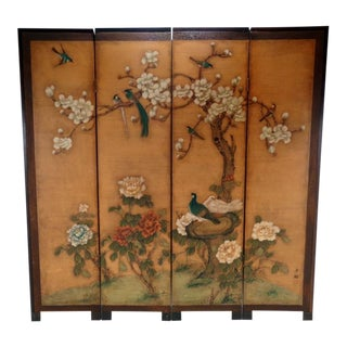 Vintage Japanese Byobu Folding Screen For Sale