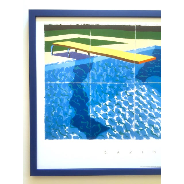 """This David Hockney rare vintage 1994 iconic lithograph print large custom framed poster poster """" Le Plongeur ( Paper Pool..."""
