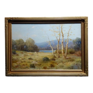 Quaint Pastoral Landscape by the Lake Oil Painting, 19th Century For Sale