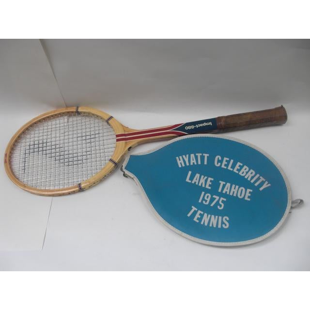 From the 1st Annual Merv Griffin Hyatt Celebrity Lake Tahoe Tennis Tournament circa 1975 is this old school Spaulding...