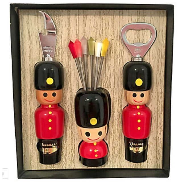 """Wonderful """"New"""" Old Stock Vintage Toy Soldier Barware Set featuring Can Opener, Bottle Opener and Martini Picks. Great..."""