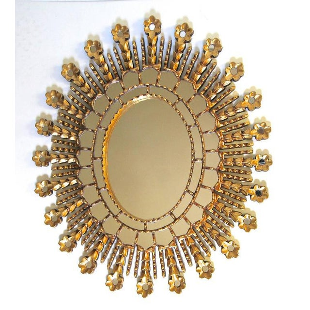 Sunburst Giltwood Oval Spanish Colonial Wall Mirror For Sale In Dallas - Image 6 of 10