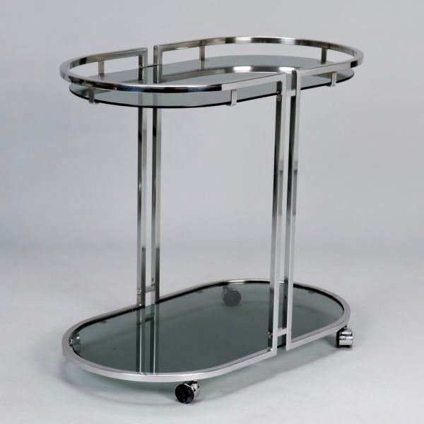 French Mid-Century Chrome and Glass Bar Trolley - Image 3 of 9