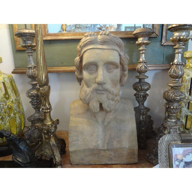 19th Century Monumental French Terra Cotta Bust of a Classical Greek For Sale - Image 4 of 11