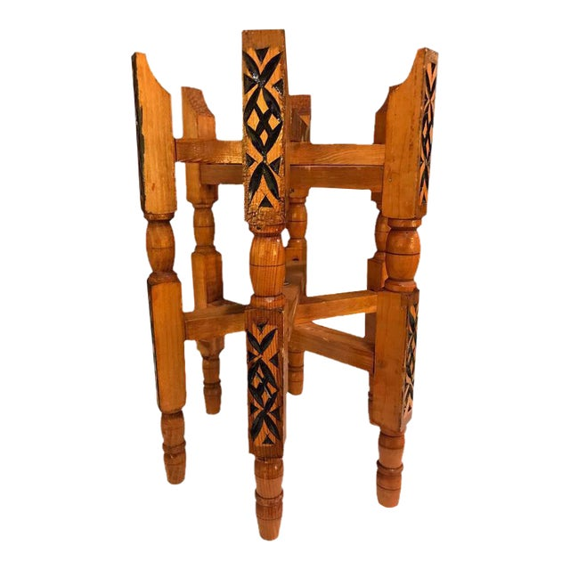 Hand-Carved Wood Tray Legs For Sale