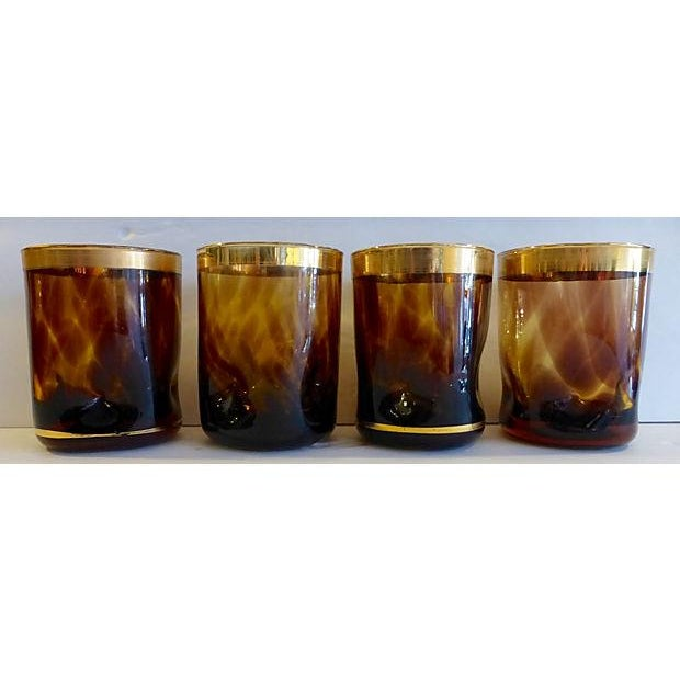 Mid-Century Amber Brown Gold Lowball Glasses - S/4 - Image 2 of 5