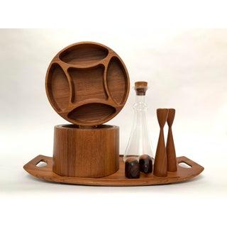 Vintage Mid-Century Modern Danish Teak Barware Tray and Serving Set Preview
