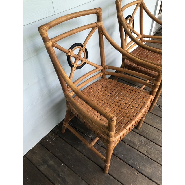 Wood McGuire Rattan Rawhide Target Chairs- Set of 6 For Sale - Image 7 of 13