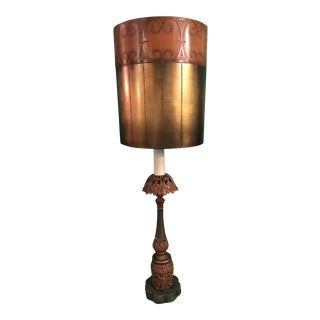 Mid-Century Burnt Orange Table Lamp & Circus Shade