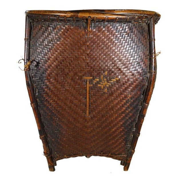 35ff70d6 Traditional Hand Woven Rattan Grain Basket from Philippines, 19th Century  For Sale In New York