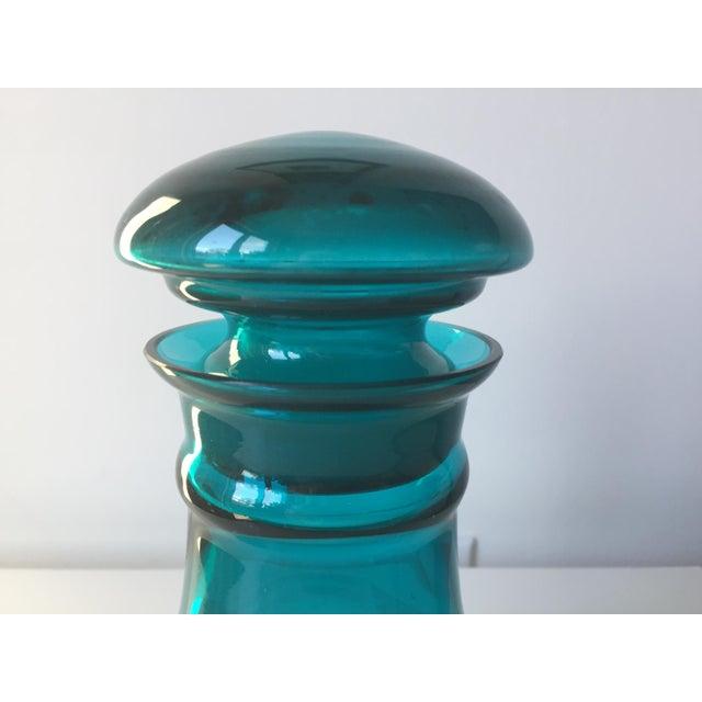 Vintage Blenko Turquoise Glass Decanter/Jar - Image 3 of 7
