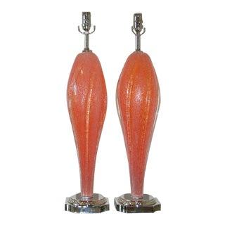 Vintage Murano Glass Lamps Melon Orange For Sale