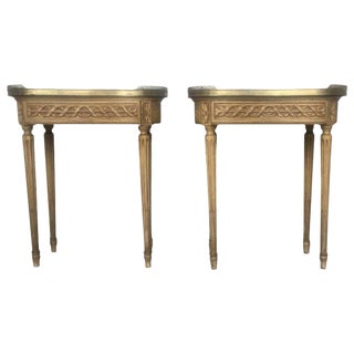 19th Century Bouillotte Louis XVI Style, Kidney Shaped Bronze & Pine Side Table For Sale