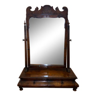 Antique Biedermeier Burl Walnut Dressing Table Mirror For Sale