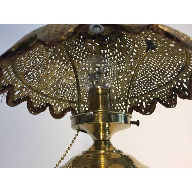 Metal Moorish Revival Brass Syrian Table Lamp For Sale - Image 7 of 11