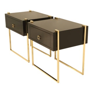 Custom Black Glass and Brass Nightstands - a Pair For Sale