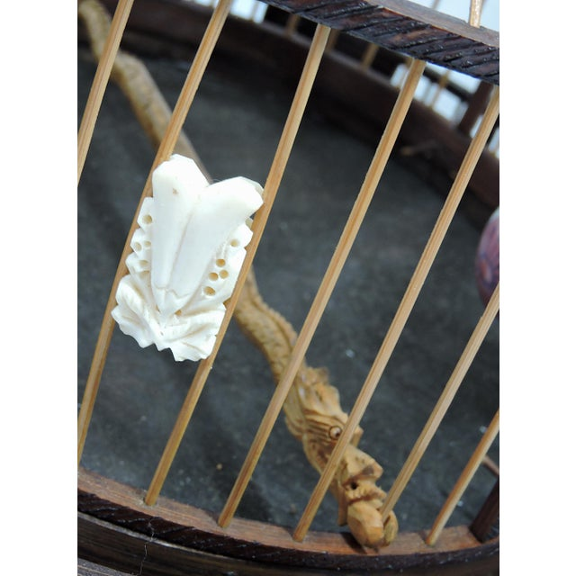 Metal Vintage Chinese Bamboo Bird Cage With Porcelain Bowls, Cicadas & Dragon Decorations For Sale - Image 7 of 10