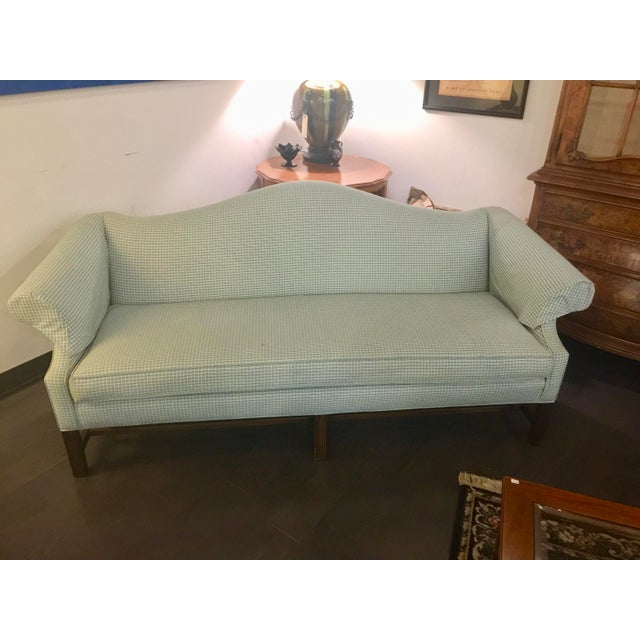Mid 20th Century Vintage Mid Century Green & White Checkered Single Cushion Sofa For Sale - Image 5 of 6