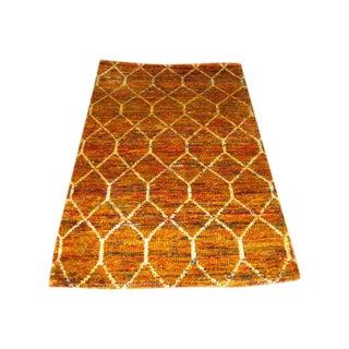 Indian Sari Silk Rug - 3' X 5'