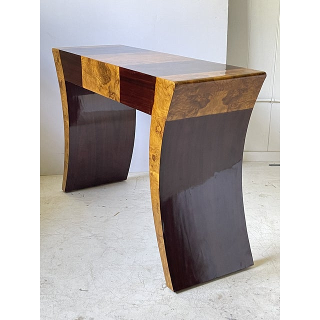 Vintage Italian Rosewood and Burlwood Console or Desk For Sale - Image 9 of 13