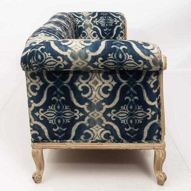 Antique French Chesterfield Sofa in Indigo Ikat Print Linen For Sale - Image 10 of 13