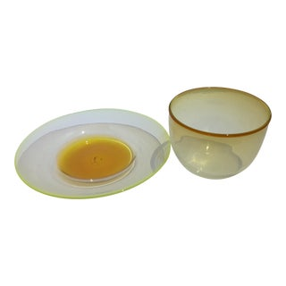 Artisan Glass Gold & Green Ombre Plate and Bowl Signed Art Reed '83 - a Set of 2 For Sale