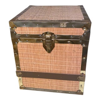 1960's Studded Brass and Wicker Chest For Sale