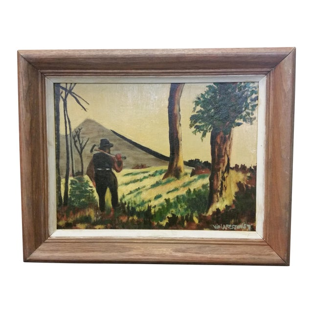 Viola Roston Signed Oil Painting, 1957 For Sale