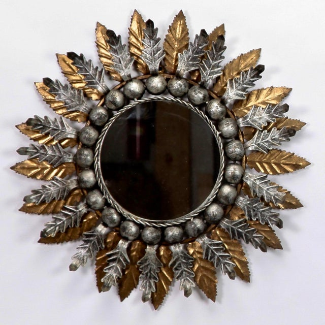 Mid-Century Modern Spanish Gilt and Silver Metal Sunburst Mirrors - a Pair For Sale - Image 3 of 10
