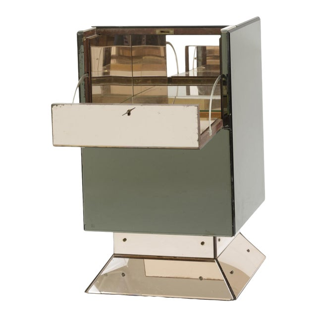 Hollywood Style Mirrored Opening Bar For Sale